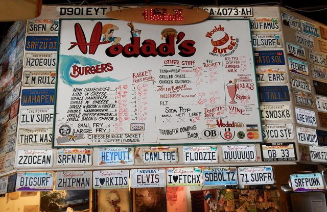 Hodad's Menu and license plates